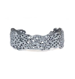 Koraru Coral Cuff with White Diamonds in Oxidized Silver