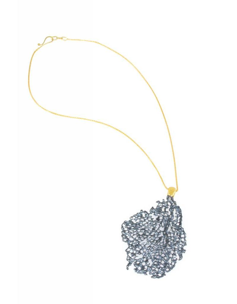 Koraru Large Silver Pendant with White Diamonds on 18k Yellow Gold Bail and Chain
