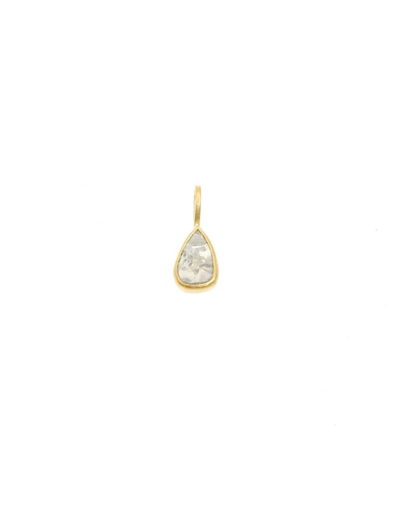 Teardrop Diamond Slice Pendant in 18k Yellow Gold