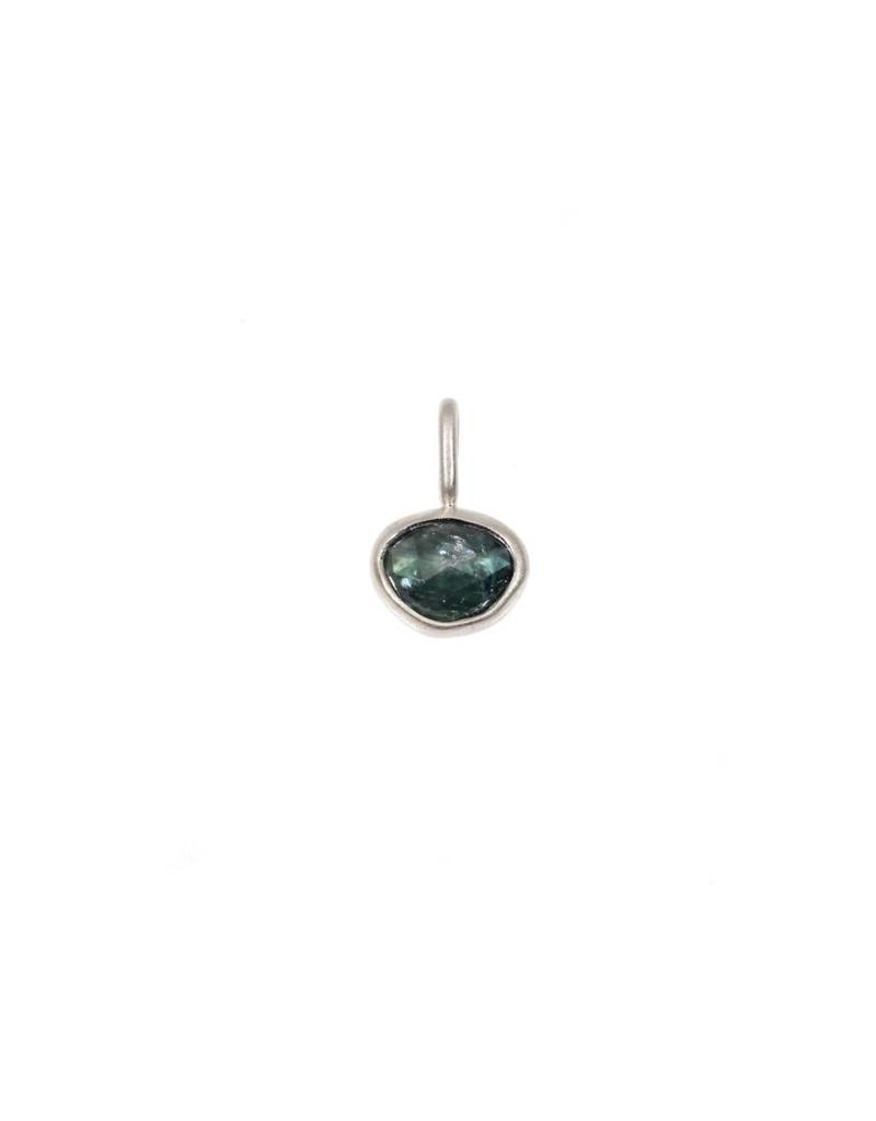 Organic Shaped Green Sapphire Pendant in Palladium