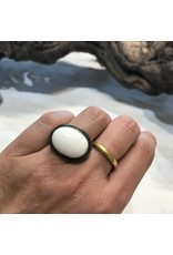 Large White Coral Ring with 22k Bezel and Oxidized Silver Shank