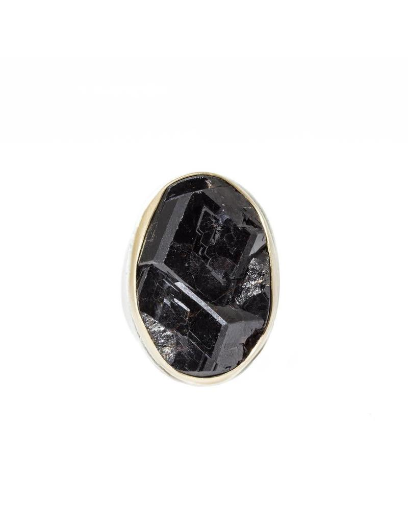 Oval Black Garnet Ring with 18k Yellow Gold Bezel and Silver Shank