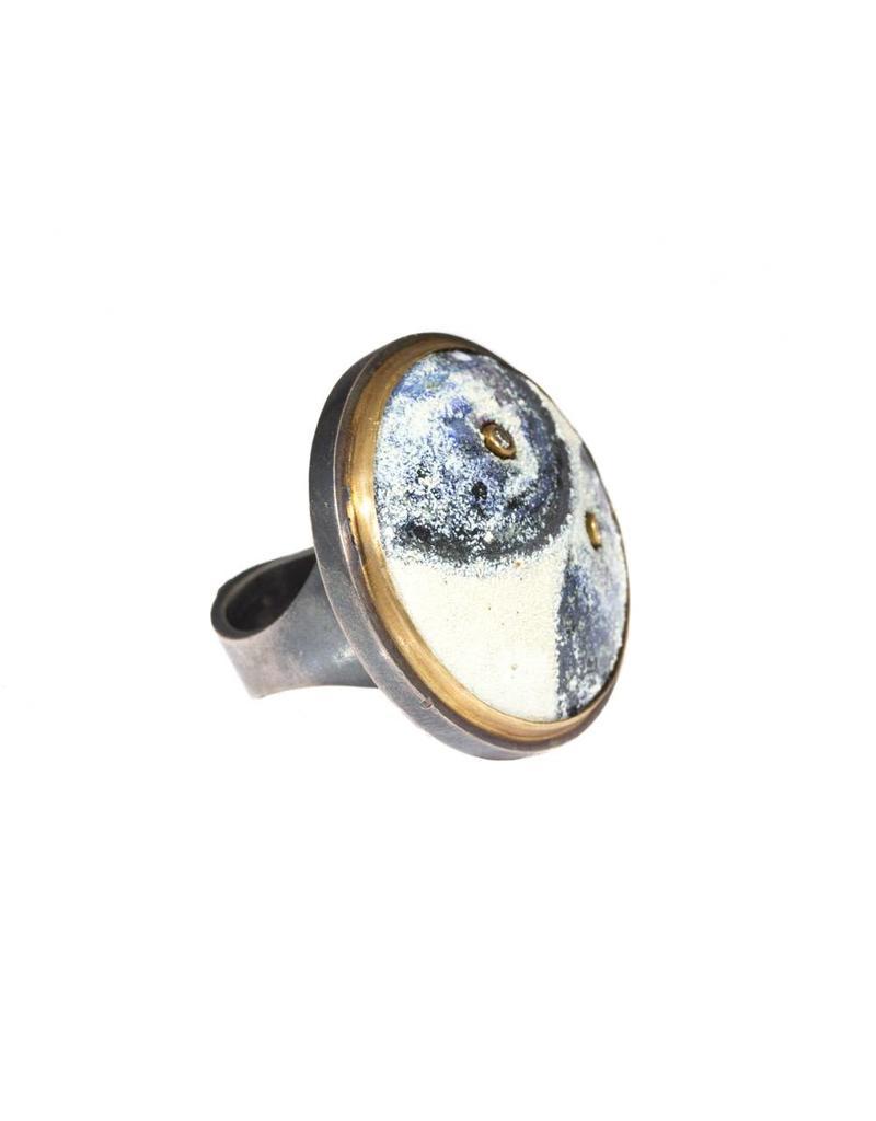 Orbit Ring Indigo Okina Pattern with 22k Bezel and OxSilver