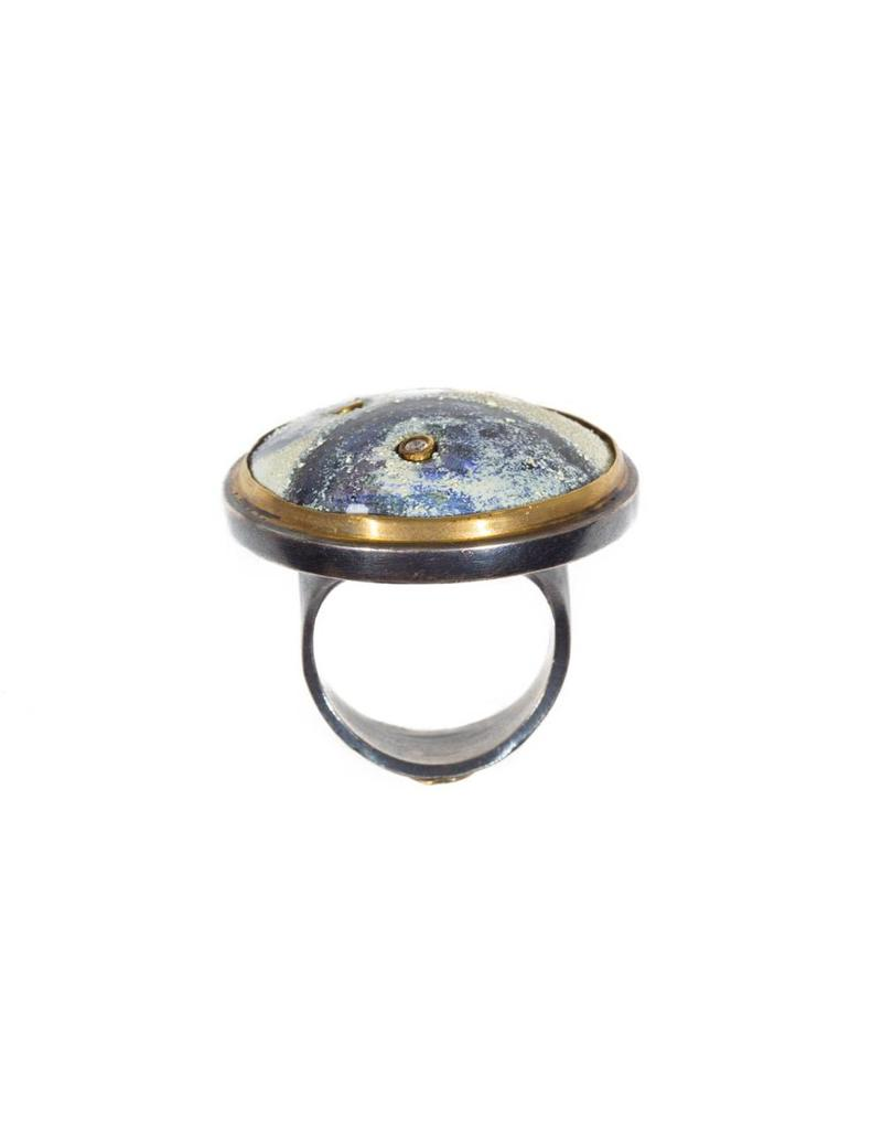 Orbit Ring Indigo Okina Pattern with 22k Gold Bezel and Oxidized Silver
