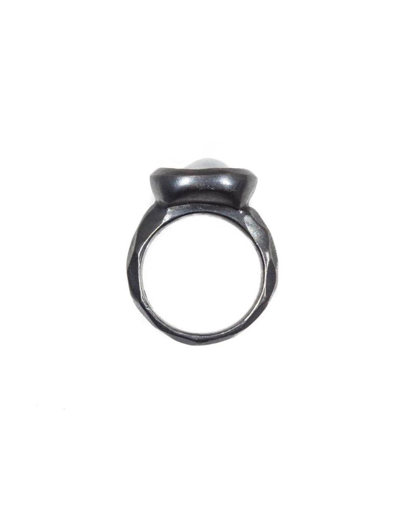 Oval Dome Pearl Ring in Oxidized Silver