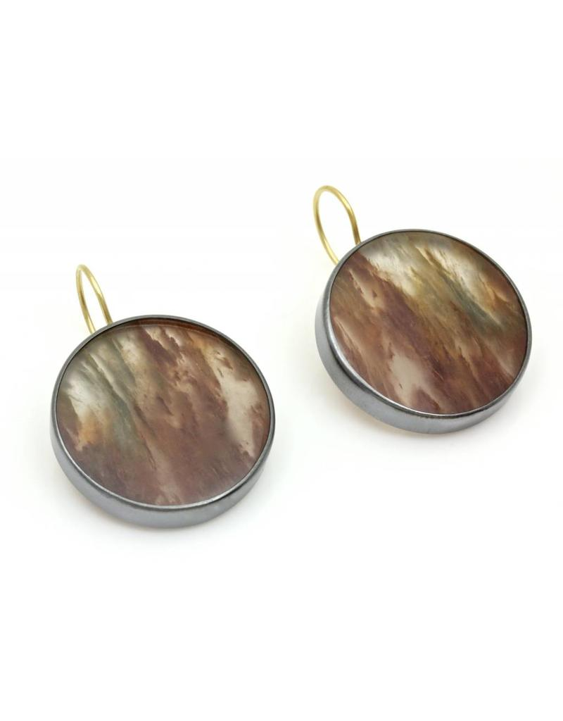 "Round ""Painted"" Quartz Earrings in Oxidized Silver"