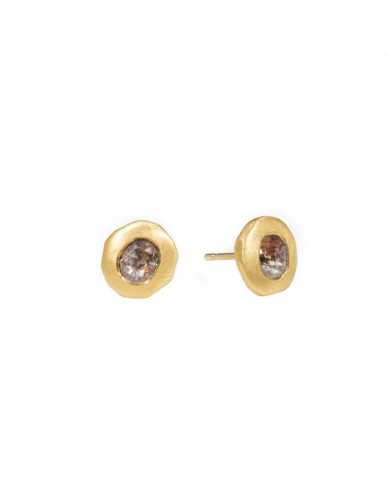 Oval Red Diamond Post Earrings 18k Yellow Gold
