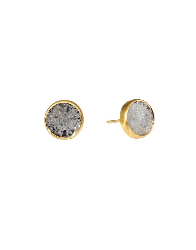 Diamond Slice Post Earrings in 18k Yellow Gold