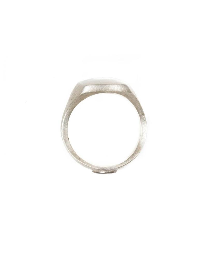 Box Ring in Silver with 18k White Gold Seal