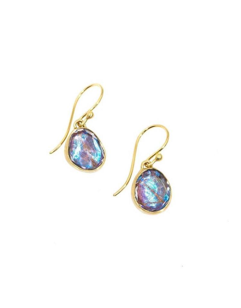 Small Organic Quartz Morpho Earrings in 18k Yellow Gold
