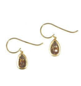 Teardrop Rose Cut Diamond Earrings in 18k Yellow Gold