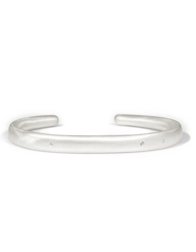 Plain Cuff with White Diamonds in Silver