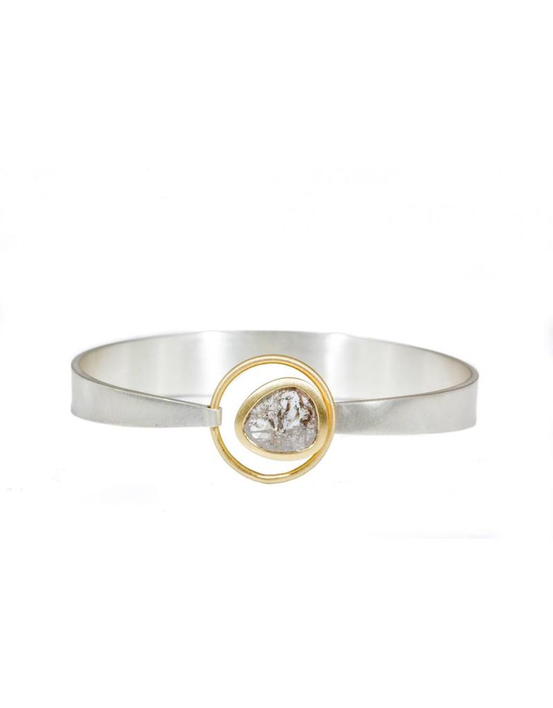 Organic Shaped Diamond Slice Bracelet with 18k Yellow Gold and Silver