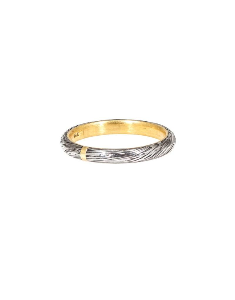 2.5mm Damascus Steel Half Round Ring with 18k Yellow Gold Liner