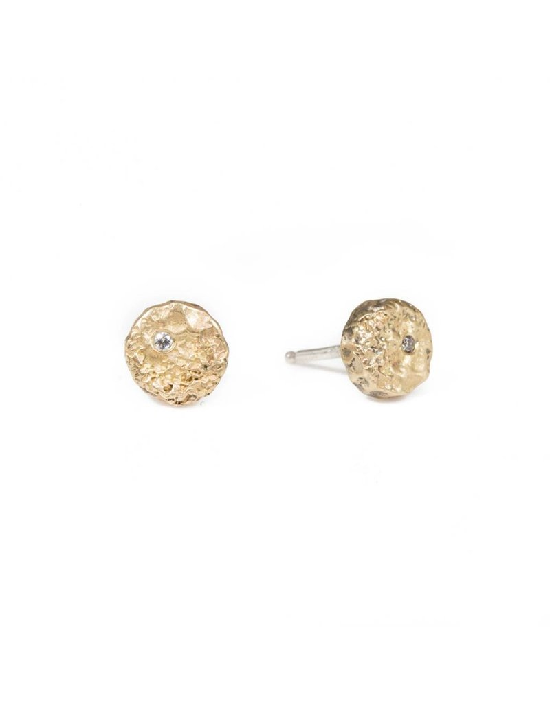 Mini Topography Post Earrings with Diamonds in Yellow Bronze