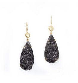 Teardrop Prong Black Tourmaline Earrings with 18k Yellow Gold