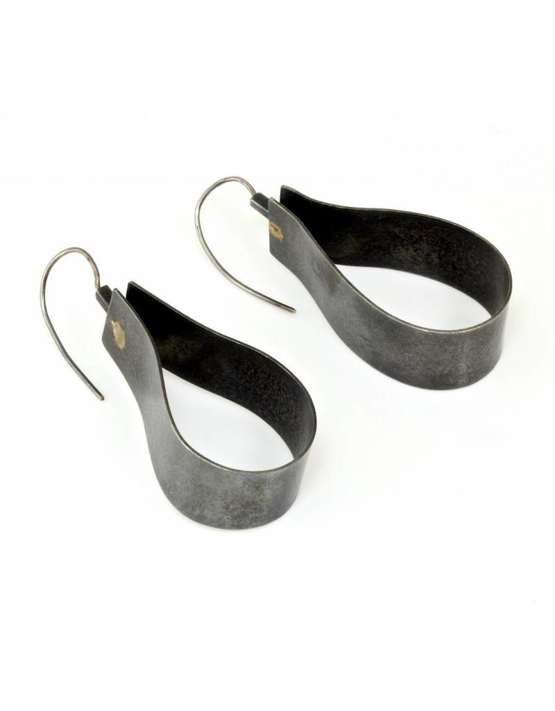 Ribbon Earrings in Oxidized Silver