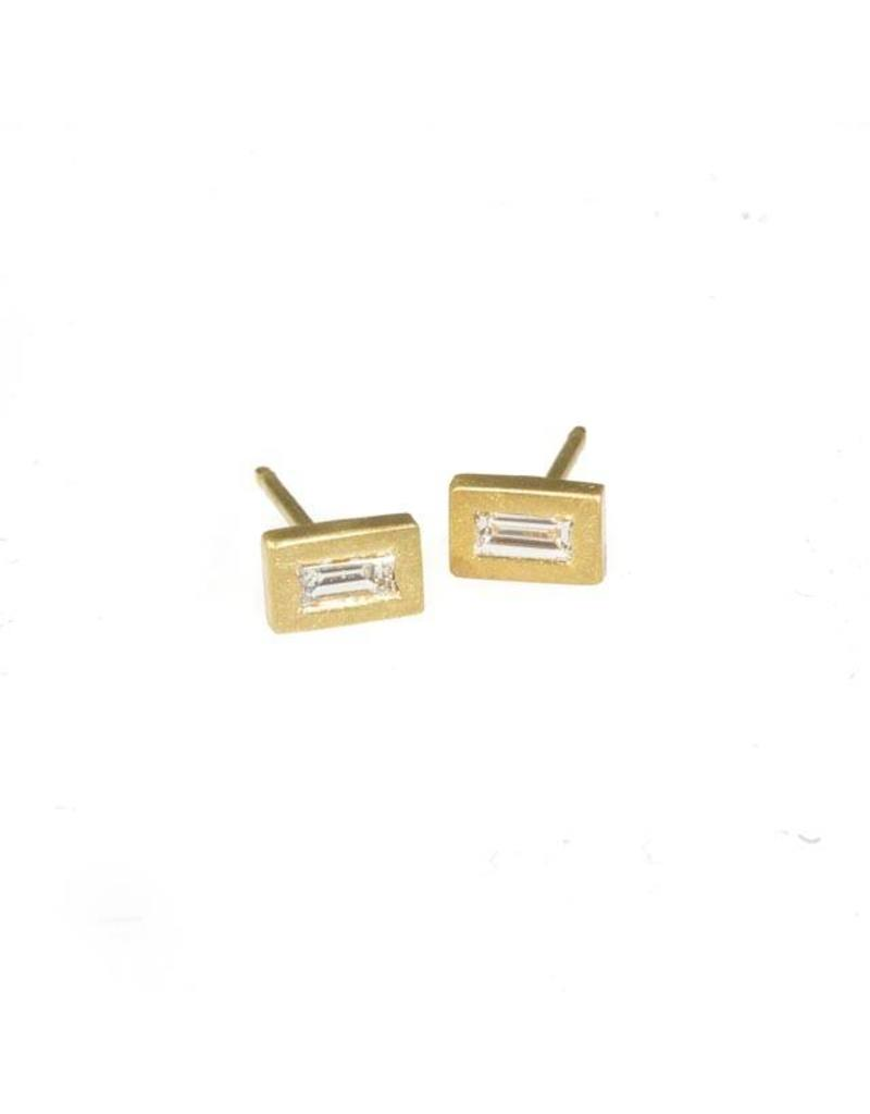 Tiny Baguette Post Earrings in 18k Yellow Gold
