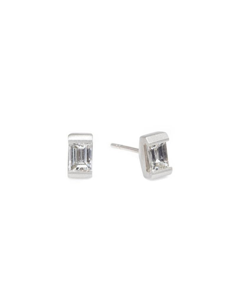 Baguette Diamond Post Earrings in 18k Palladium White Gold