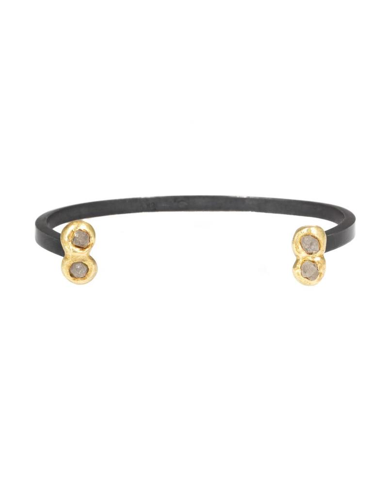 Open Cuff in Oxidized Silver and 18k Yellow Gold with Raw Diamonds