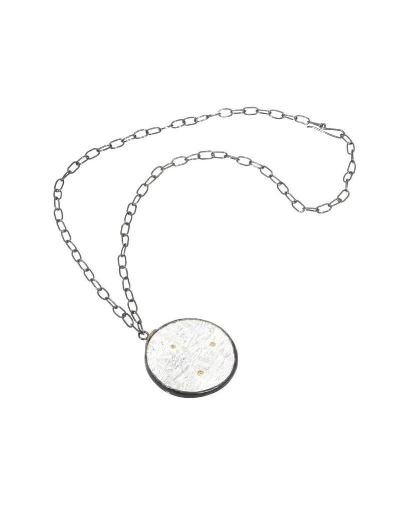 Round Silk Pendant in Silver with Rosecut Diamonds