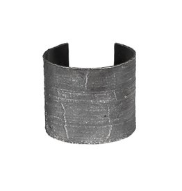 Wide Silk Textured Cuff in Oxidized Silver