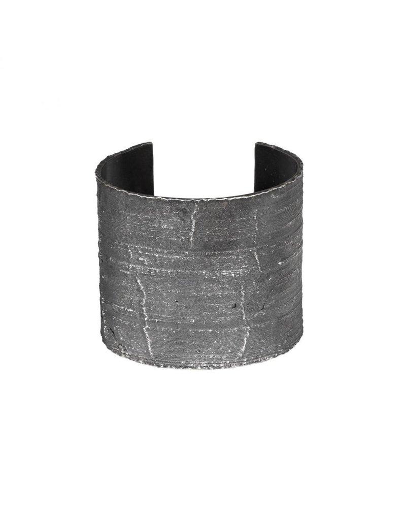 Wide Silk Textured Cuff in Oxidized Silver