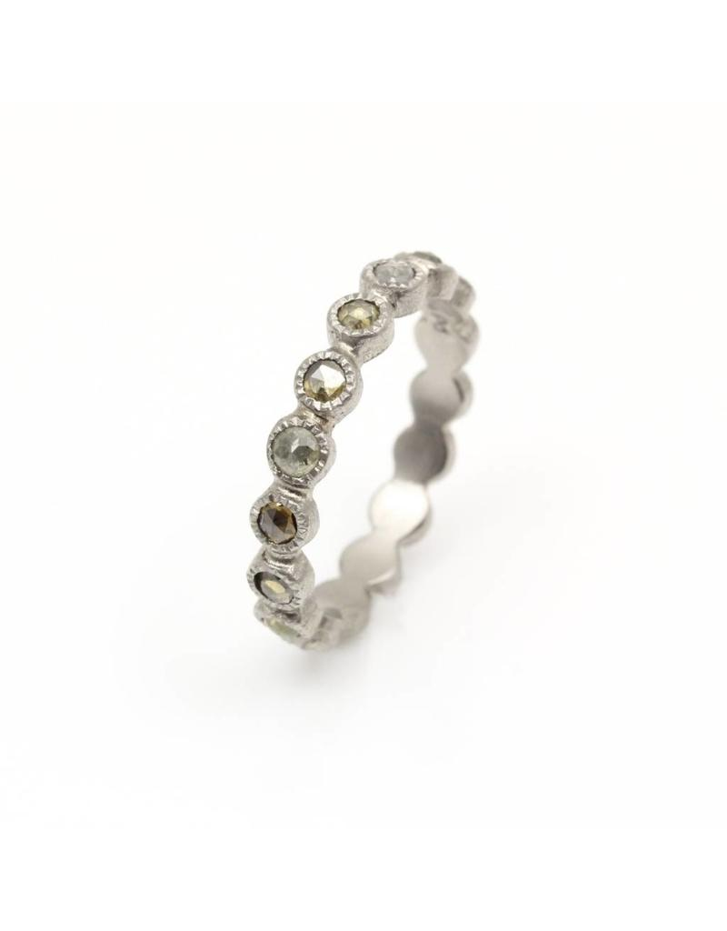 Eternity Band in Palladium with Multi-Colored Rose Cut Diamonds