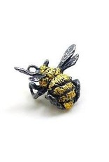 Bumble Bee Lapel Pin in Silver and 23k Gold Leaf