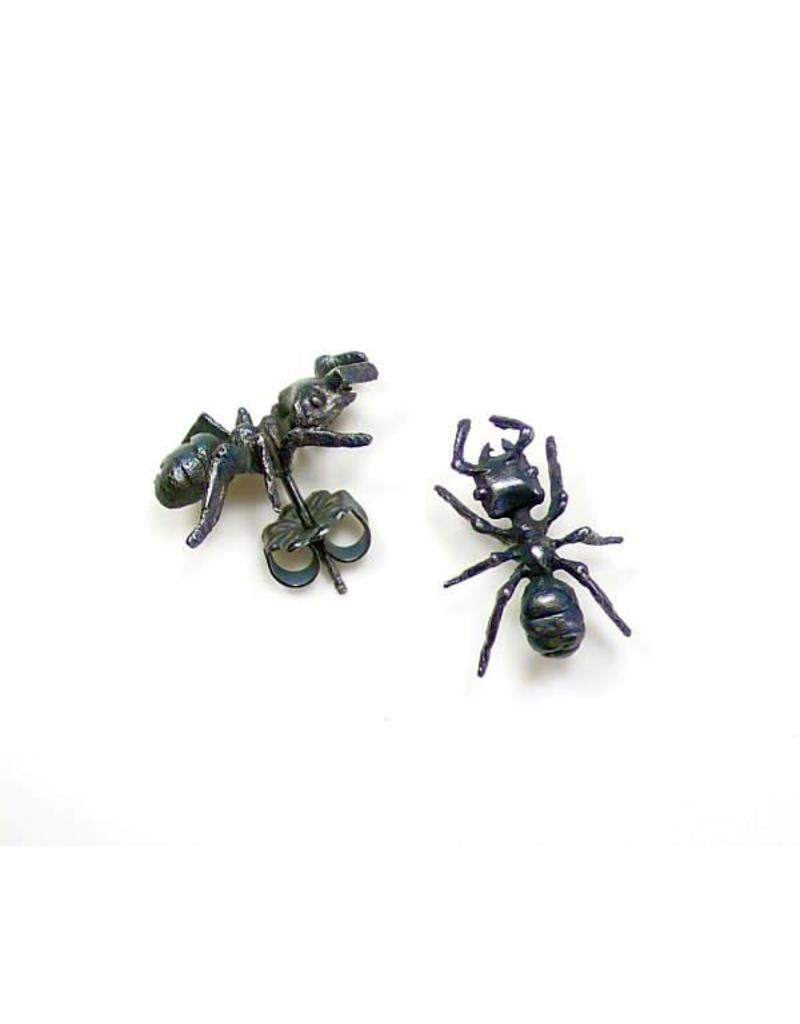 Carpenter Ant Post Earrings in Oxidized Silver