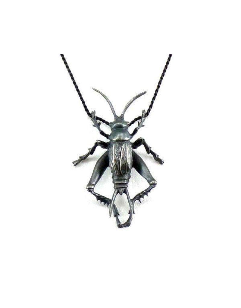 Cricket Pendant in Oxidized Silver