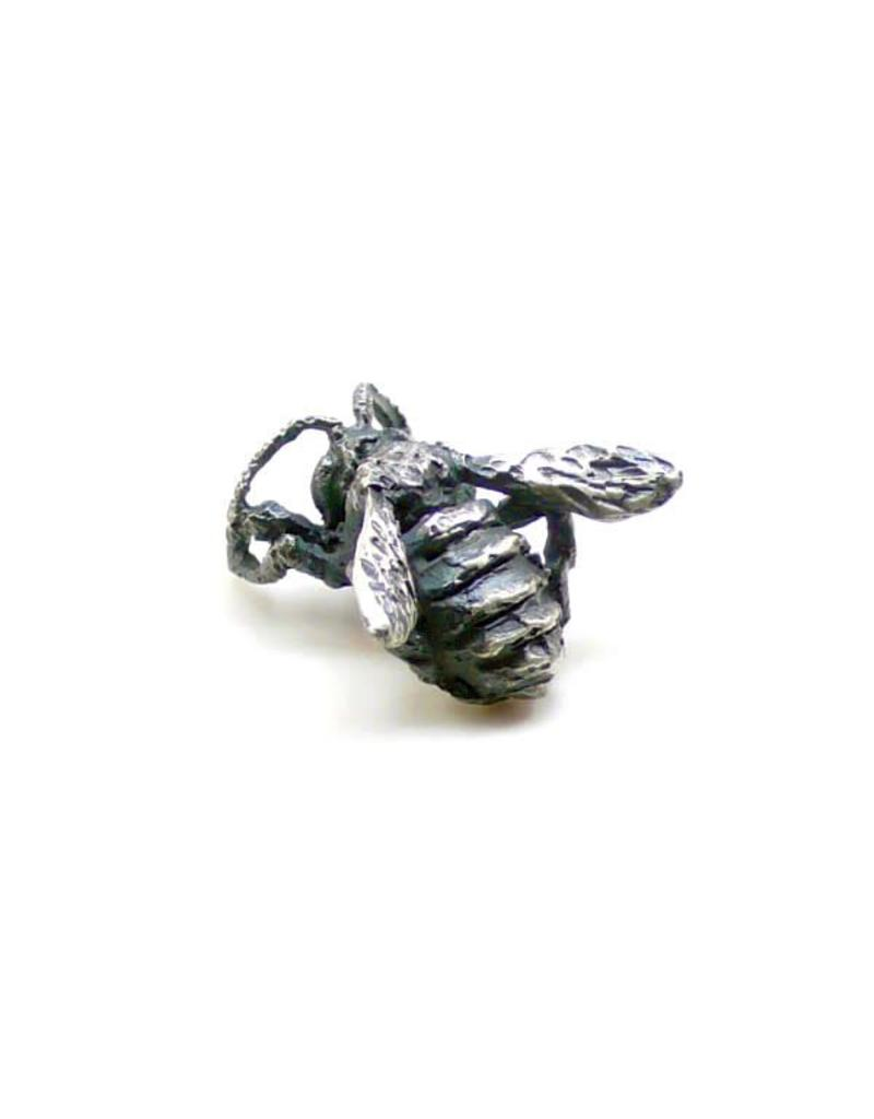 Honey Bee Lapel Pin in Oxidized Silver