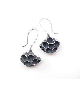 Paper Wasp Nest Earrings in Oxidized Silver