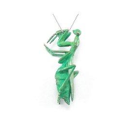 Praying Mantis Pendant in Patinated Bronze