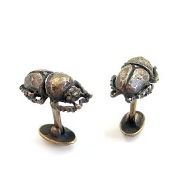 Scarab Beetle Cuff Links in Bronze