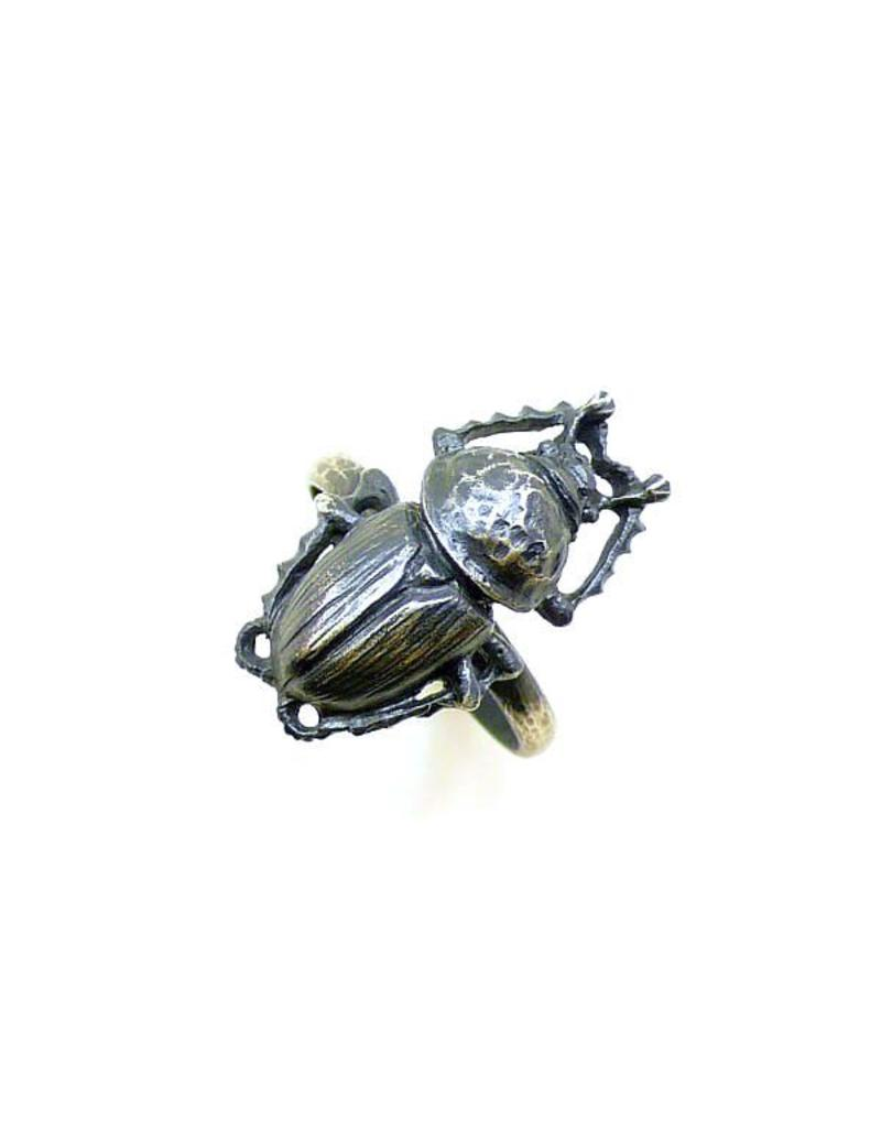 Scarab Beetle Ring in Oxidized Silver