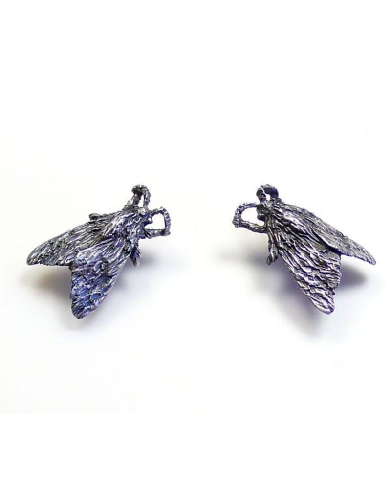 Tiger Moth Post Earrings in Oxidized Silver