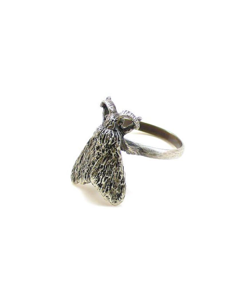Tiger Moth Ring in Oxidized Silver