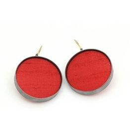 *Large Red Silk Dangle Earrings