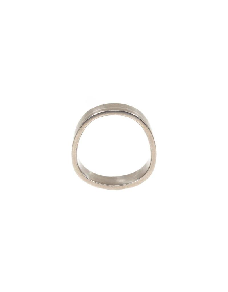 8mm Finger Shaped Band in Titanium with Off Center Silver Inlay