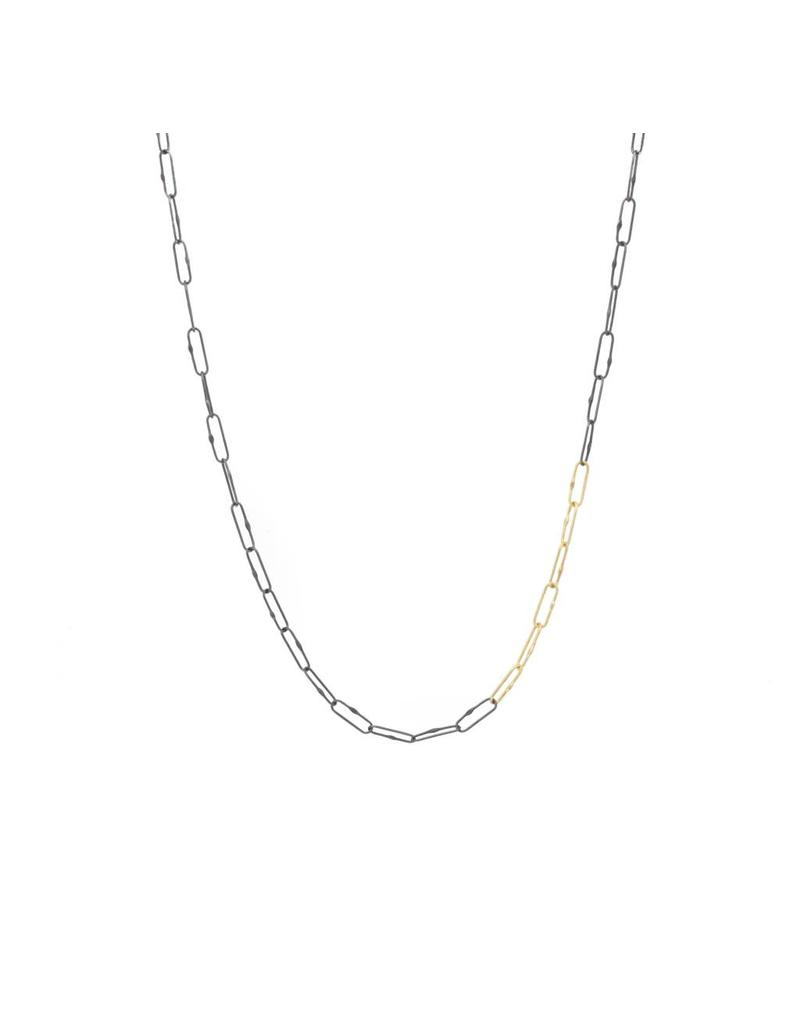 Short Links Chain in Oxidized Silver with 7 Consecutive Gold Links - 18""