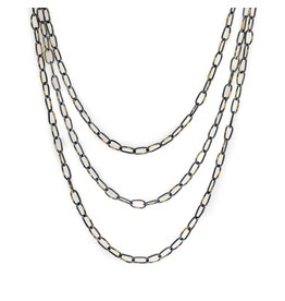 Organic Chain in Oxidized Silver and 18k Gold - 24""