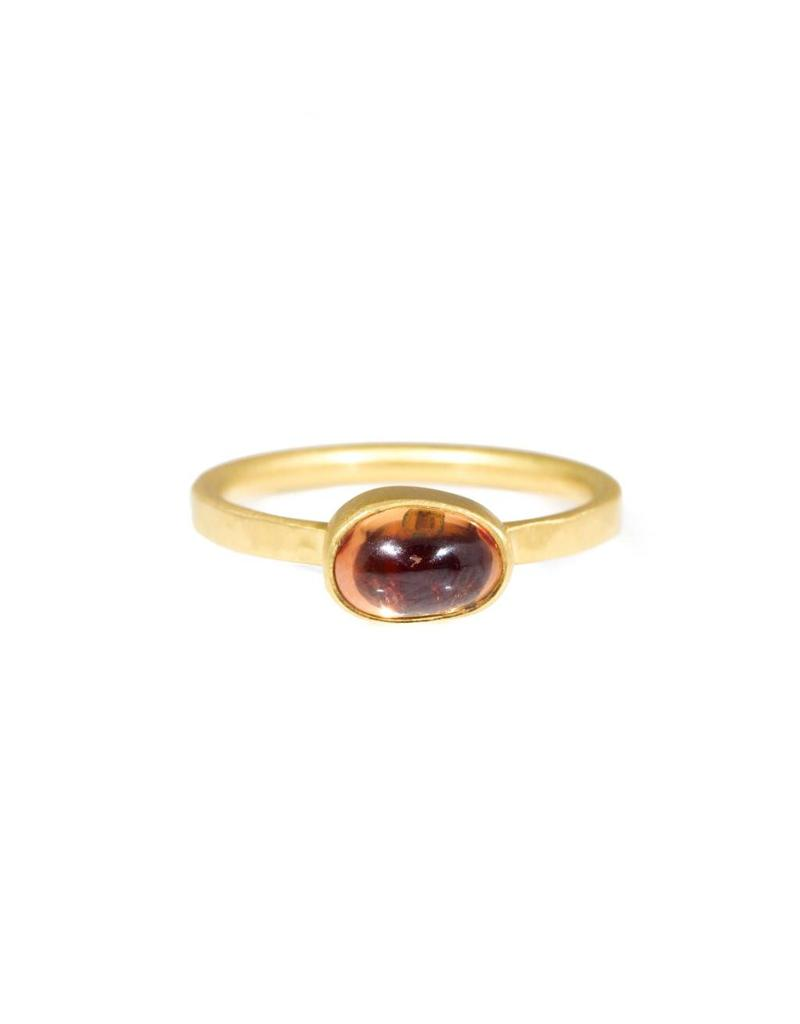 Organic Oval Pink Orange Sapphire Ring in 18k Yellow Gold