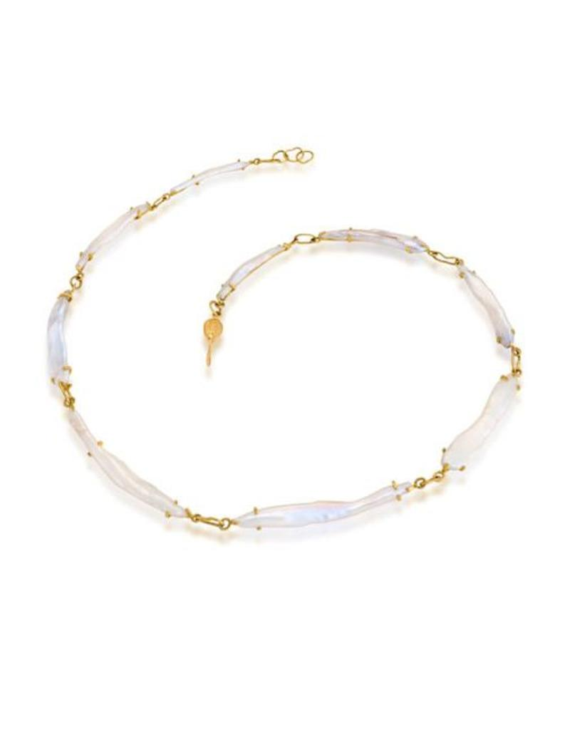 American Keshi Cultured Pearl Necklace with 18k Gold Settings