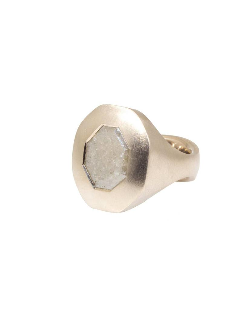 Octagon Diamond Slice Ring in 18k Palladium White Gold