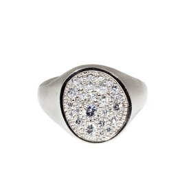 Pave Diamond Organic Shaped Signet Ring with Diamonds in 18k Palladium White Gold