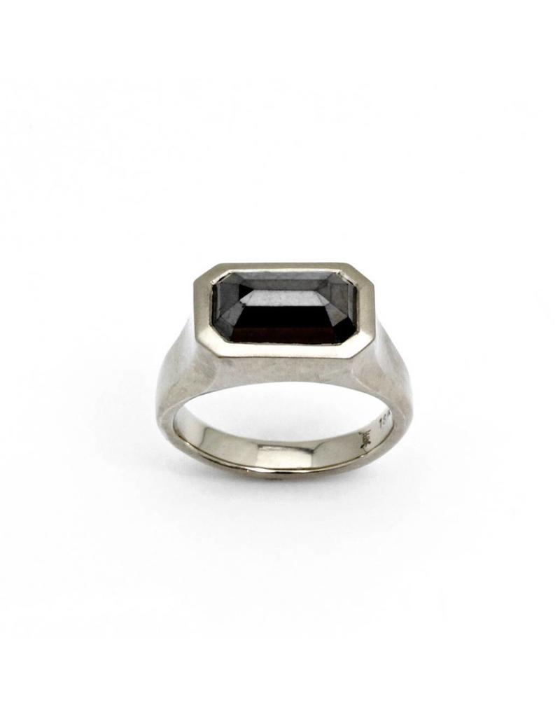 Horizontal Black Diamond Ring in 18k White Gold