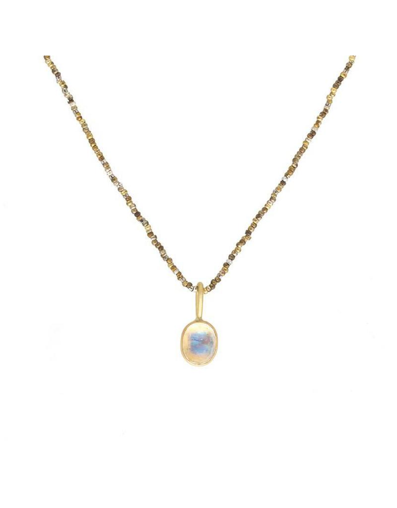 Oval Moonstone Pendant in 18k Yellow Gold on Warm Steel Cut Chain
