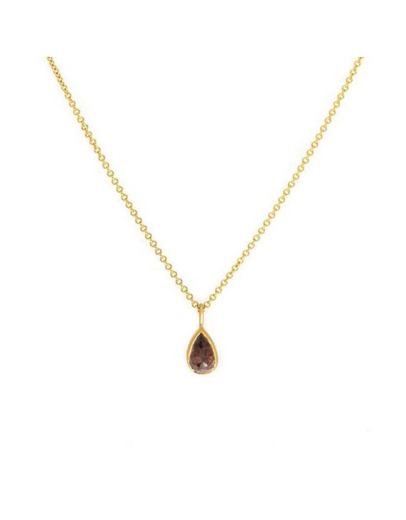 Red Teardrop Diamond Pendant in 22k Gold