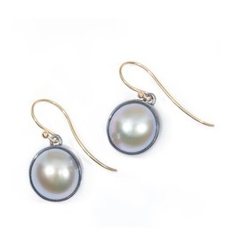 Small Belly Pearl Earrings in Oxidized Silver with 18k Yellow Gold Wires